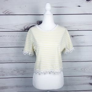 F21 Sunny Yellow Stripe Floral Lace Crop Top